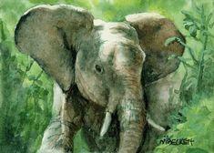 ACEO Original Painting Young Elephant animal wildlife Africa tusks endangered #Impressionism Nature Artwork, Landscape Artwork, Dragonfly Painting, Rainbow Zebra, Chincoteague Ponies, Flower Artwork, Pet Fox, Wildlife Nature, Artist Trading Cards