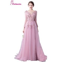 Cheap dress lace up, Buy Quality lace directly from China lace top wedding dress Suppliers: Evening Dress Long Sleeve 2017 A line Flowers V Neck Pink Lace Flowers Tulle Prom Dresses Lace Up Robe De Soiree Longue Dentelle Muslim Evening Dresses, Backless Evening Gowns, Ball Gowns Evening, Long Sleeve Evening Dresses, Cheap Evening Dresses, Mermaid Evening Dresses, Elegant Dresses, Tulle Prom Dress, Prom Party Dresses