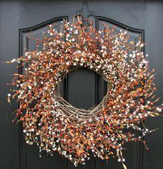 Pumpkin Pie, Berry Wreaths, Thanksgiving Wreaths, Home Decor, Door Berry Wreaths, Pumpkin Spice Latte Berry Wreath