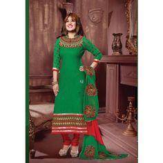 #AyeshaTakia Green Cotton #Churidar Kameez #Dress #Fashion