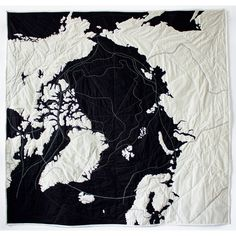 Emily Fischer — Black & White, Twelve Quilts - try Antarctica or Fiordland Australian Coat Of Arms, Haptic Lab, Topography Map, Map Quilt, Landscape Quilts, Beautiful Color Combinations, Textiles, World Star, Applique Quilts
