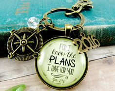 For I know the plans I have for you... is what Bible verse this scripture keychain is based on, Jeremiah 29:11. It includes a charm that says 2016.