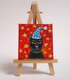 Cat painting. Mini cat portrait. Cat in hat art. by MaureenMaceArt