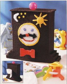 Toy Clock Tissue Box Cover Plastic Canvas Pattern via Etsy