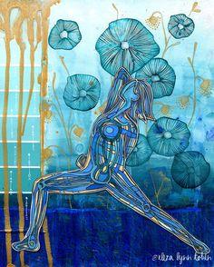 Yoga Art Print 5 x 7 Watersprite Yoga kunst aan door ElizaTobin