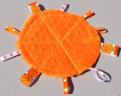 Basketball Ribbon Toy/ Security Blanket Toy with Orange Minky