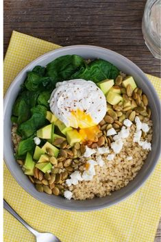 Savour every bite of this Savoury Breakfast Power Bowl! Savory Breakfast, Quick And Easy Breakfast, Breakfast Recipes, Quinoa Spinach, Spinach And Cheese, Power Bowl, Different Recipes, Comme, Clean Eating