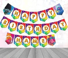 Trolls Party Supplies  AMAZING VALUE!  Have a Fun filled Day with this Super Colorful Troll Banner.  The banner is easily customized as each piece print large on a standard 8.5x11 Page. The whole Alphabet is included for you convenience! Create any Name or Any message.   -Banner Prints 1 panel per 8.5x11 page. -FULL ALPHABET INCLUDED- CREATE ANY NAME/MESSAGE  Add Some Bright Colored store bought Balloons and Streamers to set off the Perfect Tropical Occasion!  You will receive a Link to ...