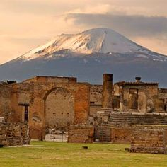 The city of Pompeii is a partially buried Roman town-city near modern Naples in the Italian region of Campania, in the territory of the comune of Pompei. Along with Herculaneum, Pompeii was partially destroyed and buried under 4 to 6 m (13 to 20 ft) of ash and pumice in the eruption of Mount Vesuvius in AD 79.