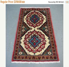YEAR END CLEARANCE 1980s Hand-Knotted Hamadan Persian Rug (2068)