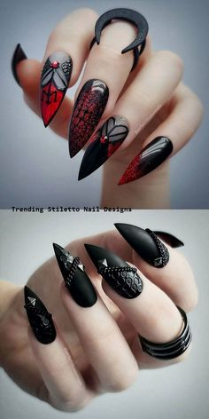 22 Wicked Long Black Nails Cool Girls Should Have a Try! - Page 5 of 6 Longer is cooler. Wickedly longer is much cooler. Long nails is always the hottest nail among the popular. And long black nails is the top 1 best color for cool girls. Long Black Nails, Black Stiletto Nails, Black Nail Art, White Nail, Goth Nails, Goth Nail Art, Bling Nails, Skull Nails, Red Nails