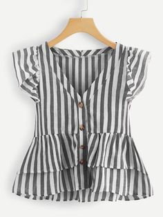 Shop V Neckline Single Breasted Striped Babydoll Top online. SheIn offers V Neckline Single Breasted Striped Babydoll Top & more to fit your fashionable needs. Sexiest lingeries on planet earth Moda Plus Size, Plus Size Blouses, Mode Inspiration, Mode Style, Dress Patterns, Blouse Designs, Spring Outfits, Girls Dresses, Cute Outfits