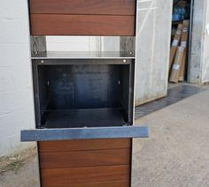 Steel manufacturing and fabrication in Austin, Texas. Detailed craftsmen who work with iron, metal & steel. Architectural finishes and construction. Parcel Drop Box, Modern Mailbox, House Gate Design, Post Box, Steel House, Craftsman, Architecture, Interior, Home Decor