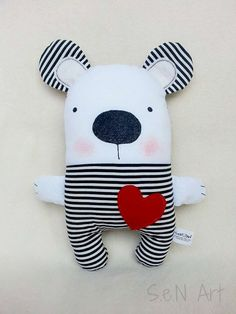 Black and White Striped Handmade Stuffed Teddy Bear by SenArt1