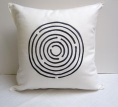 embroidered maze pillow cover