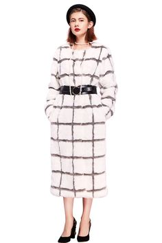 YIGELILA Women O-neck Long Sleeve Plaid Faux Fox Fur Coat for Winter Large. Brand: YIGELILA. Available sizes and colors of stylish faux fox fur outerwear excellently fit well with your demand. Other sizes we can provide custom-made services to you. Elegant stand collar, plaid pattern and long fur style with handsome slant pockets design look stereoscopic and gorgeous as the cool model when wearing this practical and fashion fur coat. This outerwear are suitable for any kindly costume that...