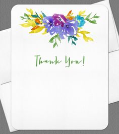 Personalized Thank You Floral Blossom Note Card Set - set of 8 by OlivineStationery on Etsy