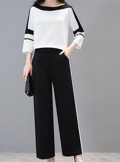 Women's Plus Size Holiday Work Street chic Sophisticated Set - Solid Colored Color Block Pant / Summer / Sexy 2020 - ₩ 52627 Street Chic, Street Wear, Street Mall, Mode Top, Pants For Women, Clothes For Women, Work Clothes, Winter Outfits For Work, Mode Hijab