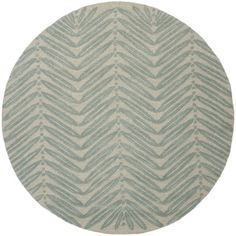 Martha Stewart by Safavieh Chevron Leaves Blue Fir Wool/ Viscose Rug (6' Round) | Overstock.com Shopping - The Best Deals on Round/Oval/Square