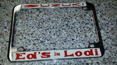 Vtg California Motorcycle license plate frame  Holder Suzuki ed's in Lodi Nos