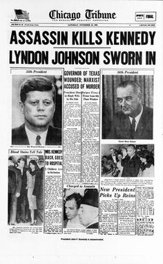 "Kennedy assassination headline, 1963. (From photogallery ""Chicago's defining moments: 1840-1963"" http://trib.in/mVZ3Qp)"