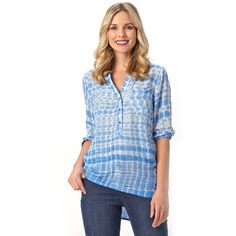 Patchington Blue Tie-Dye Top (150 BRL) ❤ liked on Polyvore featuring tops, blouses, blue, women tops, tie-dye tank tops, blue top, tie die tops, 3/4 length sleeve tops and blue blouse