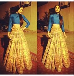 Zara Peerzada looking gorgeous in a cropped blouse and high waist lehenga.