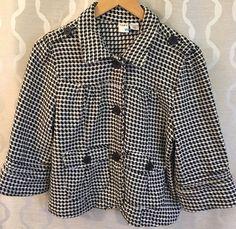Roxy Black And White Houndstooth Swing Crop Jacket Blazer Size Extra Large XL #Roxy #Blazer