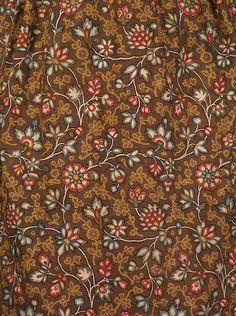 Block Printed Round Gown DAR Late 18th century Graphic Design Pattern, Floral Design, Fabric Wallpaper, Pattern Wallpaper, Textile Prints, Textile Design, Bali Garden, 18th Century Dress, Tambour