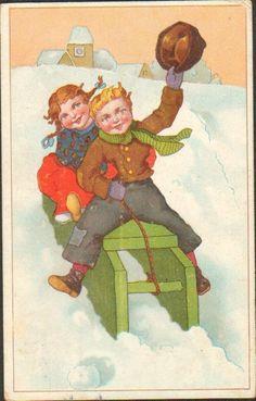 Vintage Postcard Children Girl Boy Sled Hungary Austria 1919 Up 43   eBay
