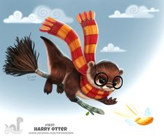 Daily Painting Harry Otter by Cryptid-Creations on DeviantArt Cute Animal Drawings, Kawaii Drawings, Cute Drawings, Fantasy Creatures, Mythical Creatures, Otters Cute, Otters Funny, Baby Otters, Harry Otter
