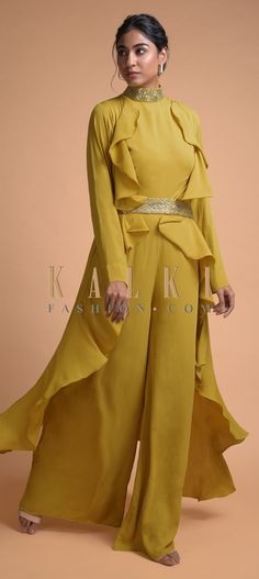 Royal Yellow Jumpsuit And Fancy Long Jacket With Ruffles And Embellished Belt Online - Kalki Fashion Yellow Jumpsuit, Embellished Belt, Saree Dress, Long Jackets, Indian Designer Wear, Salwar Kameez, Indian Outfits, Party Wear