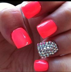 Coral and Bling nails <3