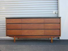 Gorgeous Mid Century Modern Danish Style Credenza/ Dresser With 9 Drawers  Made By Stanley Distinctive Furniture. Walnut Over Solid Wood With A Black  Paint ...
