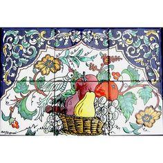 Arts Exotiques Fruit Basket 6-tile Ceramic Backsplash Mosaic (Backsplash Fruit Basket Mosaic 6 Ceramic Tiles), Silver cement