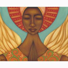 Angel Di Mi Guardia... Mexican Guardian Angel Folk Art Print of Painting by Tamara Adams. $38.00, via Etsy.
