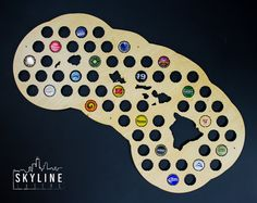 Hawaii Beer Cap Map HI Glossy Finished Birch by SkylineWorkshop