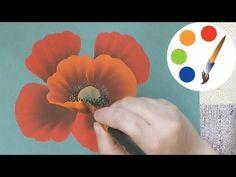 How to Paint a Pretty Poppy Step by Step, cómo pintar de amapola, irishkalia - YouTube