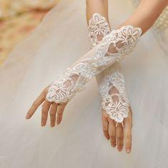 1 Paar lange Spitzenhandschuhe für Hochzeit Braut 43 cm lang