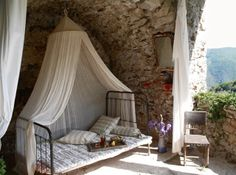 French House in the centre of Cevennes. Outdoor Bedroom, Outdoor Living, Bedroom Decor, Outdoor Retreat, Bedroom Ideas, Grand Gite, French Farmhouse, Country French, French Style