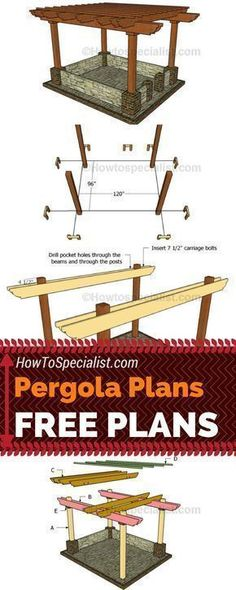 Learn how to build this exquisite pergola in your garden using my free pergola plans! Build a wood pergola so you can create shade even in the hottest summer days! #diy #pergola howtospecialist.com #pergolaplansfree #pergolaplansdiy
