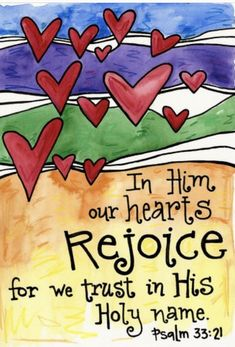 Items similar to Psalm 33 Hearts Rejoice Bible Verse Illustrated Watercolor Print on Etsy Bible Verse Art, My Bible, Bible Scriptures, Bible Quotes, Advent Scripture, Scripture Images, What Is Real Love, Psalm 33, Bible Doodling