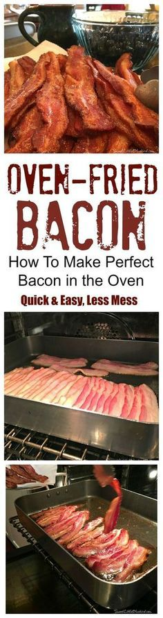 "OVEN-FRIED BACON - Quick & Easy, a lot Less Mess!! Perfect crispy bacon every time!! This is a ""life hack""...right? :)"