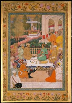 A Garden Gathering with a Prince in a Green Jama,The Minto Album, Bichtir  c. 1615-20, India