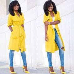 Love this yellow trench coat!