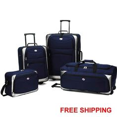 4 Piece Luggage Set Expandable Upright Vacation Trip Travel Suitcase Bag Rolling #AmericanTourister