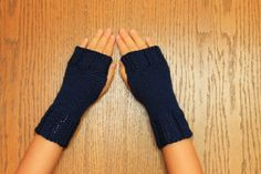 Hand Knit Fingerless Mittens/Gloves - Navy Wrist Warmers- One Size Fits All. $8.99, via Etsy.