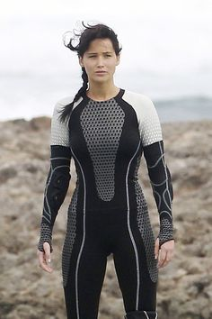 Jennifer Lawrence springs to action on the set of her new movie 'The Hunger Games Catching Fire' filming on location in Hawaii