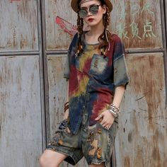 26.09$  Buy now -  Hip Hop Jeans Cool Loose Jeans Knee Length pants Elastic Mid waist  Embroidery Hole Spliced Vintage Cowboy Jeans for woman 361  #buyonlinewebsite