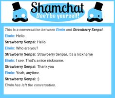 A conversation between   Strawberry Senpai and Eimin